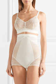 Spotlight stretch-tulle and lace high-rise briefs