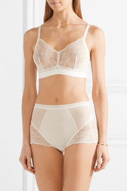 Spotlight stretch-tulle and lace briefs