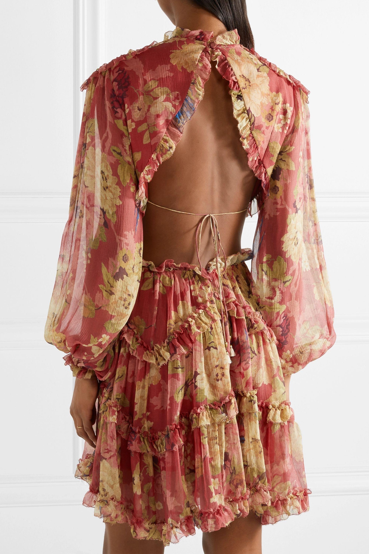 Zimmermann Melody cutout floral-print silk-crepon mini dress