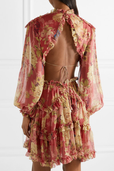 1e4546acc48cc Zimmermann. Melody cutout floral-print silk-crepon mini dress. £528. Play