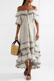 Jaya off-the-shoulder tiered embroidered linen midi dress