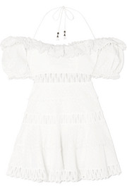Melody crochet-paneled linen-blend mini dress