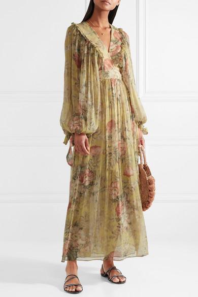 Zimmermann Melody Floral Print Silk Crepon Maxi Dress