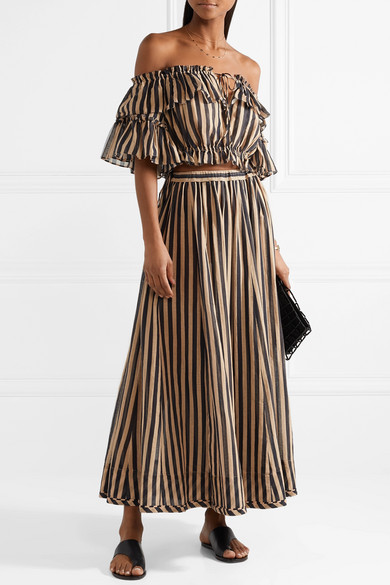 Jaya Off The Shoulder Striped Cotton Gauze Top by Zimmermann