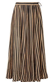 Zimmermann Jaya striped cotton-gauze midi skirt
