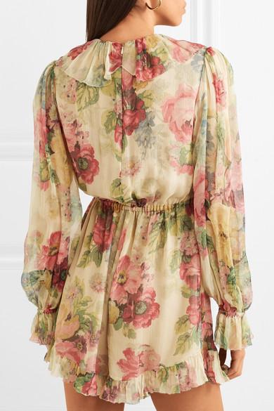 d5b6fdaa41 Zimmermann. Melody Floating ruffled floral-print silk-crepon playsuit.  €377.90. Play