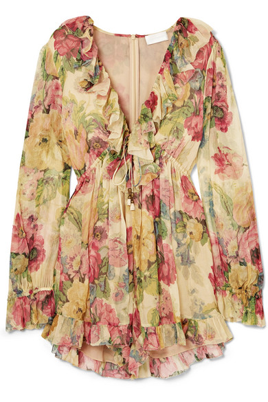 c8c4df04702 Zimmermann. Melody Floating ruffled floral-print silk-crepon playsuit