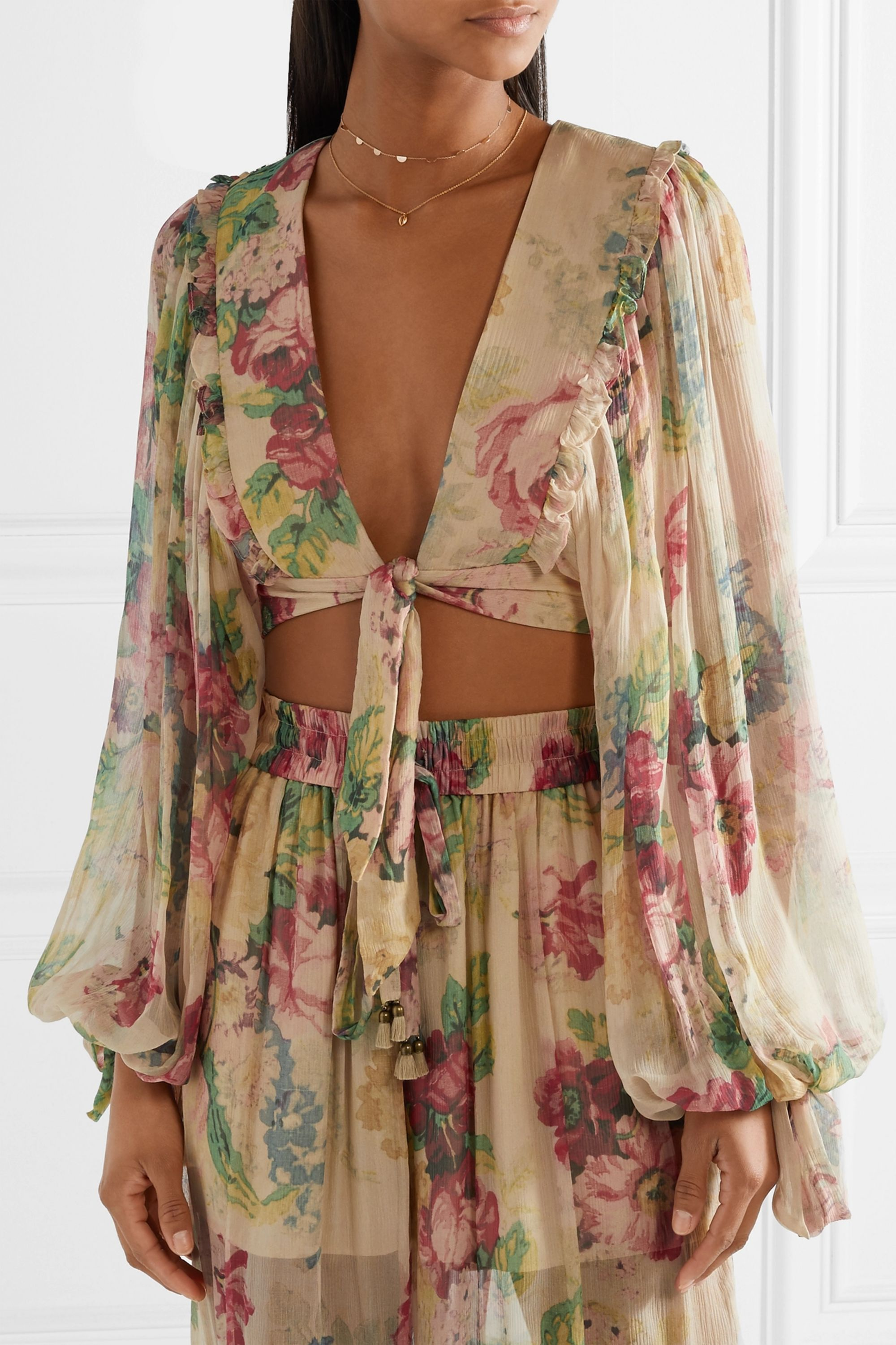 Zimmermann Melody cropped tie-front floral-print silk-crepon top