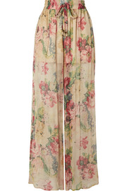 Zimmermann Melody floral-print silk-crepon wide-leg pants