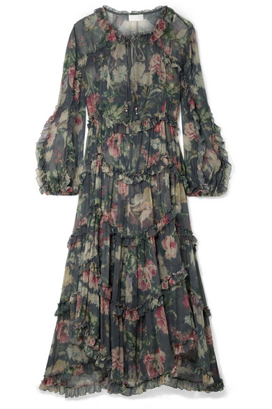 Iris Ruffled Floral-Print Silk-Crepon Midi Dress, Charcoal