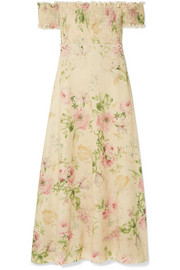 Zimmermann Iris off-the-shoulder floral-print linen-blend maxi dress