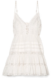 Zimmermann Iris lace-paneled Swiss-dot cotton mini dress