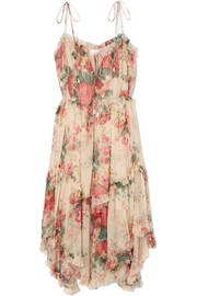 Laelia floral-print silk-crepon midi dress