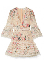 Zimmermann Laelia floral-print broderie anglaise cotton mini dress