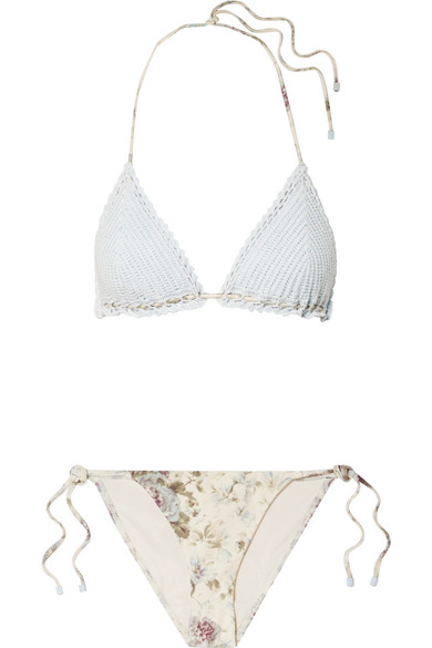 35cfff41d9 Zimmermann. Iris crocheted cotton and floral-print triangle bikini