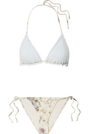 Zimmermann Iris crocheted cotton and floral-print triangle bikini