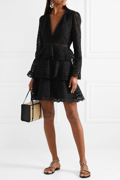 Tali tiered crochet-trimmed broderie anglaise cotton mini dress | NET-A-PORTER.COM