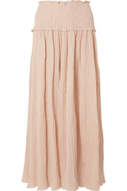 Bayou shirred crinkled ramie and cotton-blend maxi skirt