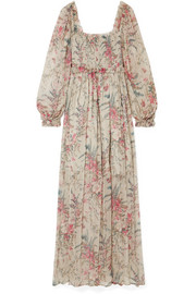 Zimmermann Bayou shirred floral-print silk-crepon maxi dress