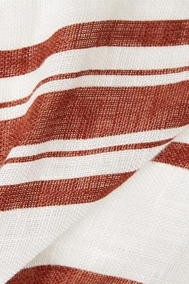 Tory Burch Beachwear Kellen striped linen-gauze wide-leg pants