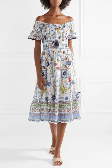 a350ea2fce Tory Burch | Off-the-shoulder printed cotton-voile dress | NET-A ...