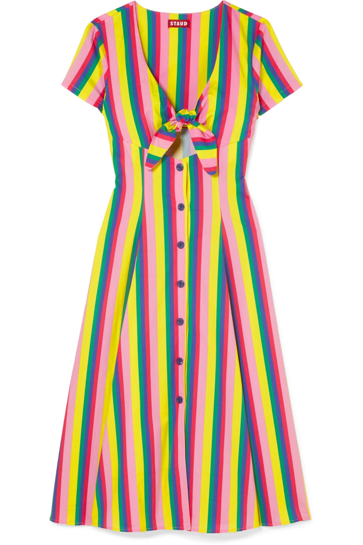 STAUD Alice tie-front striped stretch-cotton poplin dress