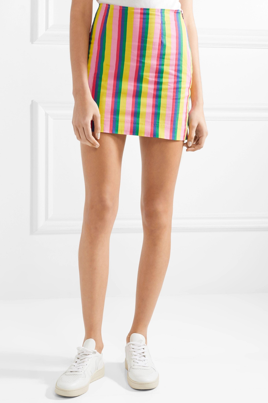 STAUD Panda striped stretch-cotton poplin mini skirt