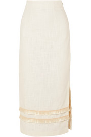 Andy fringed linen-blend midi skirt