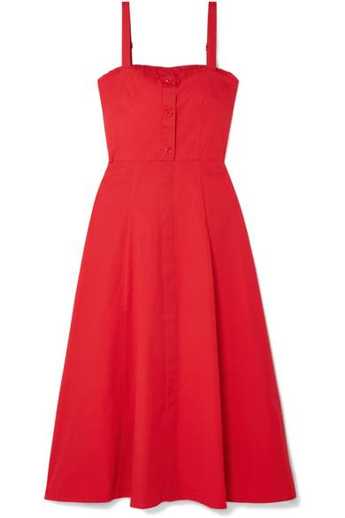 STAUD - Penny Cotton-blend Poplin Midi Dress - Red