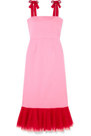 STAUD Langdon tulle-trimmed stretch-cotton poplin dress