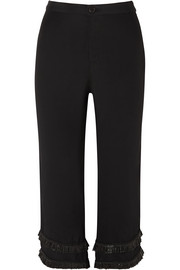 STAUD Lili cropped raffia-trimmed crepe straight-leg pants