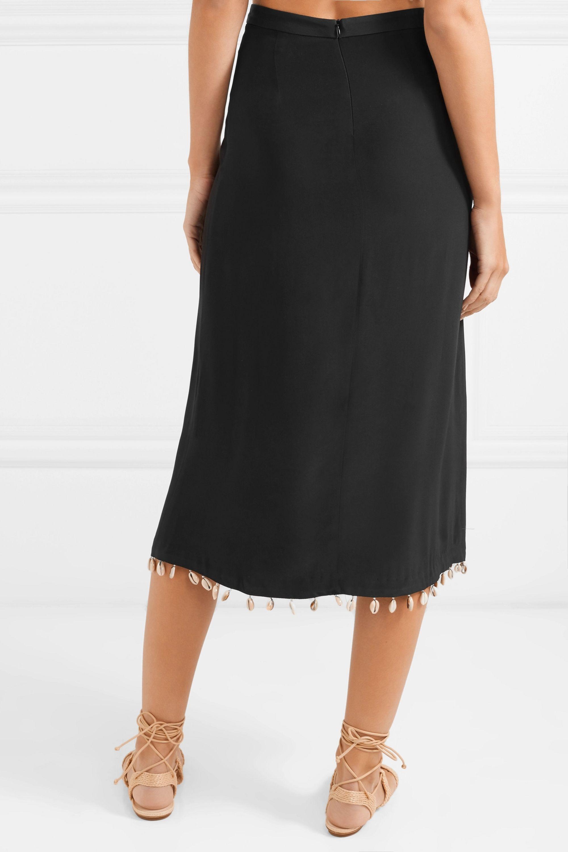 STAUD Simon shell-embellished cady midi skirt