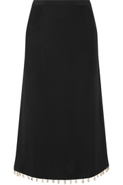 STAUD Simon shell-embellished cady midi skirt