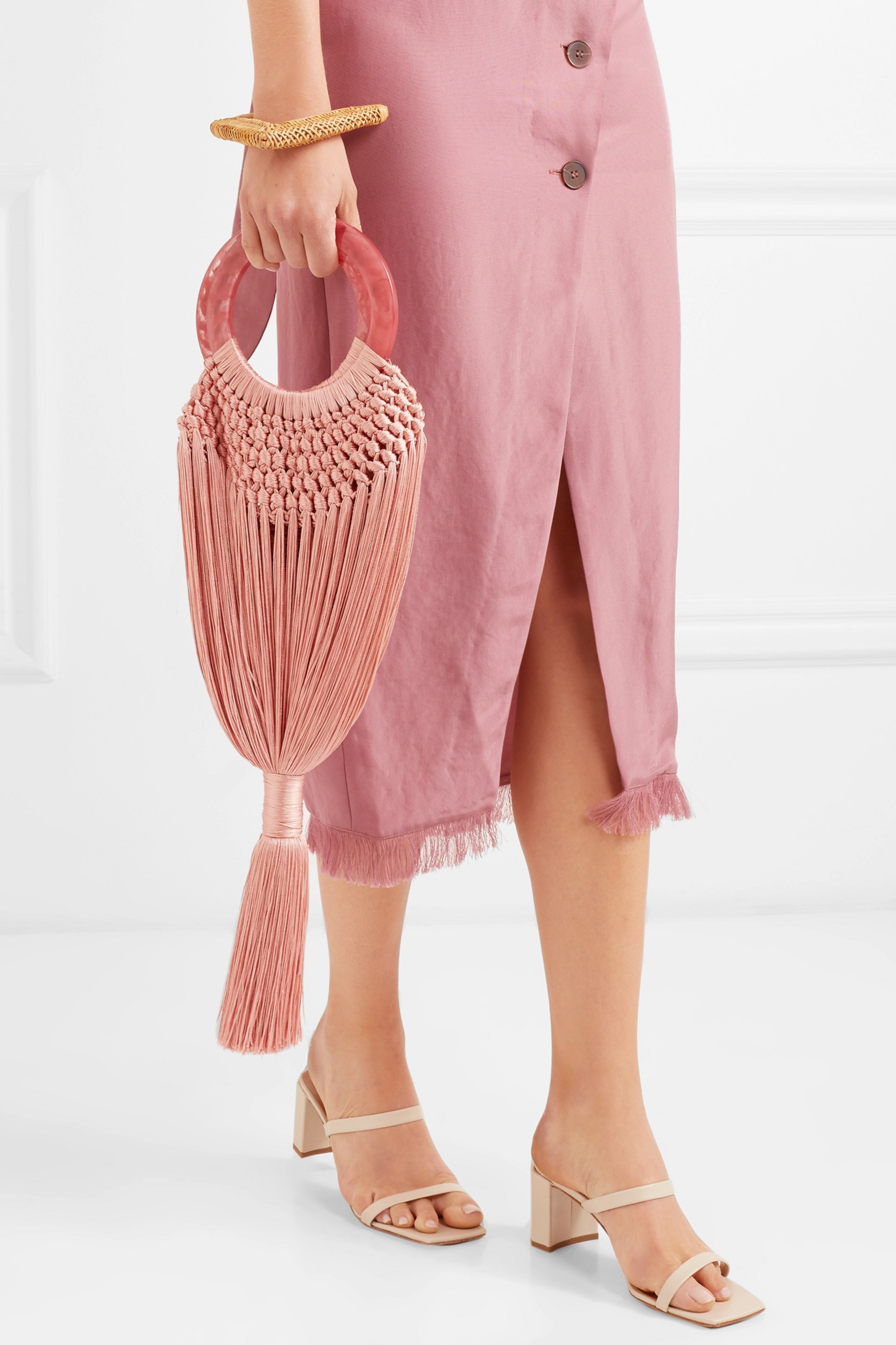 Cult Gaia Angelou small tasseled crochet and resin clutch