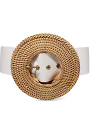 Gemma rattan and faux leather belt
