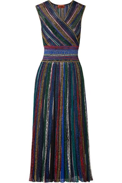 4aeaad4f49f0d Missoni | Wrap-effect striped metallic crochet-knit midi dress | NET ...