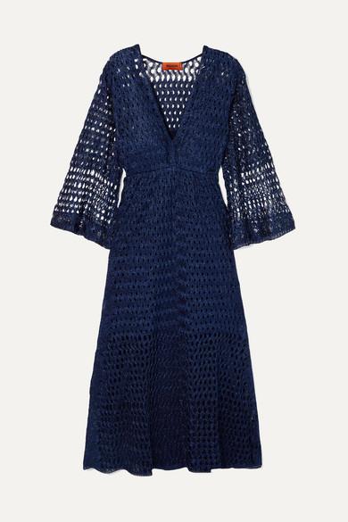 Missoni - Reversible Metallic Crochet-knit Dress - Navy