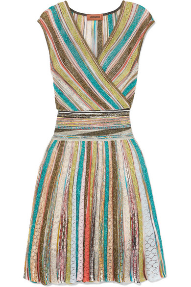 Missoni - Wrap-effect Striped Metallic Crochet-knit Mini Dress - Blue
