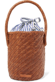 Cleo woven leather bucket bag
