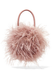 Zadie feather and leather tote