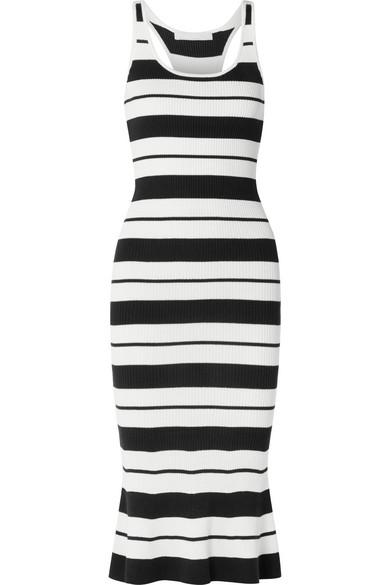 Striped Ribbed Silk-Blend Midi Dress, White