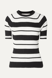 Ribbed striped silk-blend sweater