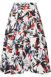 Pleated printed cotton-poplin skirt