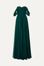 Off-the-shoulder pleated silk-chiffon gown