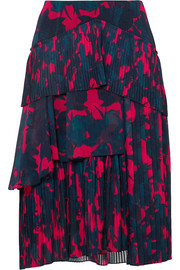 Floral-print pleated chiffon skirt