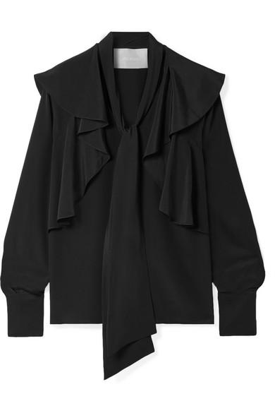 JASON WU Ruffled Silk Crepe De Chine Blouse in Black