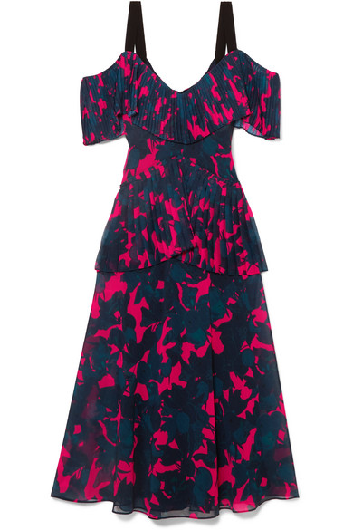 Cold Shoulder Pleated Floral Print Chiffon Midi Dress by Jason Wu