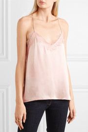 Racer lace-trimmed silk-charmeuse camisole