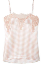 Sweetheart lace-trimmed gingham silk-charmeuse camisole