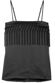 The Blain macramé-trimmed silk-charmeuse camisole
